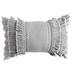 Check Smocked Fringe Oblong Throw Pillow in Grey