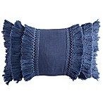 Peri Home Matelassé Medallion Fringe Oblong Throw Pillow in Navy