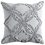 Check Smocked Metallic Chenille Square Throw Pillow in Grey