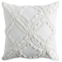 Peri Home Metallic Chenille Square Throw Pillow in Ivory