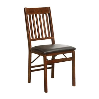 mission back folding wood chair in walnut