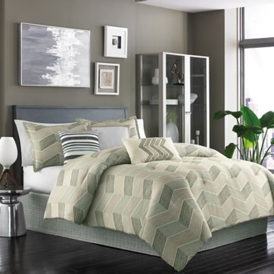 dansk niko 7piece queen comforter set in sage