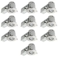 Globe Electric 4-Inch Ceiling-Mount Recessed LED Lighting Kit in Brushed Nickel (Set of 10)