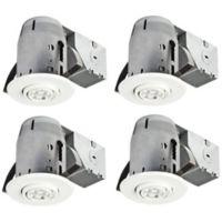 Globe Electric 3-Inch Flush-Mount Recessed Swivel Light Kit in White (Set of 4)