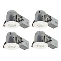 Globe Electric Ceiling-Mount Recessed LED Lighting Kit in White (Set of 4)