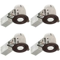 Globe Electric 3-Inch Ceiling-Mount LED Recessed Lighting Kit in Oil Rubbed Bronze (Set of 4)