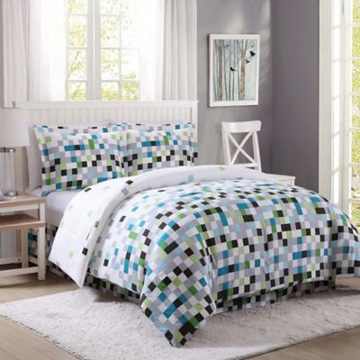pixel twin comforter set in greengrey