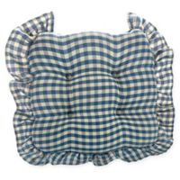 Klear Vu Grip Dot Gingham Chair Pad with 2-Inch Ruffle in Blue (Set of 2)