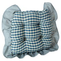 Klear Vu Grip Dot Gingham Chair Pad with 3-Inch Ruffle in Blue (Set of 2)
