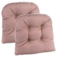 Klear Vu Gripper® Ticking Stripe Chair Pad in Red (Set of 2)