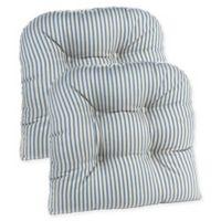 Klear Vu Gripper® Ticking Stripe Chair Pad in Blue (Set of 2)