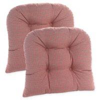 Klear Vu Gripper® Mini Gingham Chair Pads in Red (Set of 2)