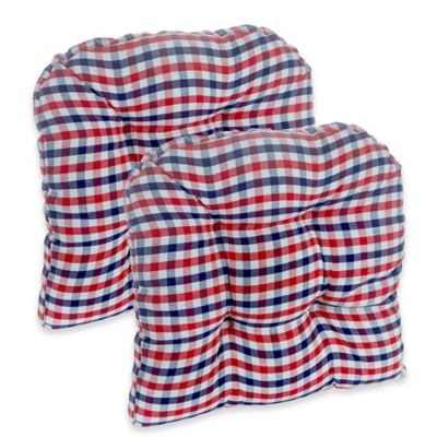Klear Vu Gripper® Gingham Chair Pads In Red/White/Blue (Set Of