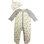 Sterling Baby Size 3M 2-Piece Cactus Footie and Hat Set in Grey