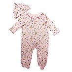 Sterling Baby Size 3M 2-Piece Woodland Snap-Front Ruffle Footie and Hat Set in Pink