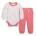 Burt's Bees Baby® Size 3M 2-Piece Organic Cotton Falling Leaves Bodysuit and Pant Set in Pink