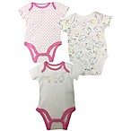 Sterling Baby Newborn 3-Pack Happy Faces Bodysuits in White/Pink