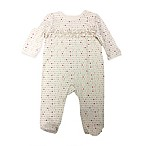 Sterling Baby Size 9M Heart Print Ruffle Front Footie in Ivory/Grey/Pink