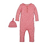 Burt's Bees® Size 6M Ditsy Leaf Coverall and Hat Set in Pink