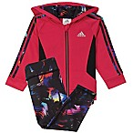 adidas® Size 3M 2-Piece Hooded Tricot Jacket and Tight Set in Pink/Black
