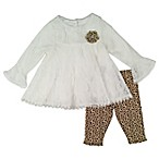 Nanette Baby® Size 6-9M 2-Piece Long Sleeve Lace Top and Animal Print Legging Set
