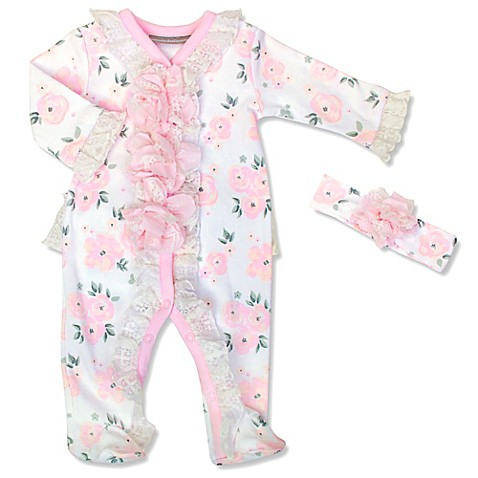Wendy Bellissimo™ 2 Piece Rose Floral Footie and Headband