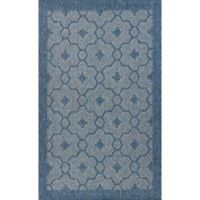 KAS Farmhouse Mosaic 3-Foot 3-Inch x 4-Foot 11-Inch Indoor/Outdoor Accent Rug in Blue