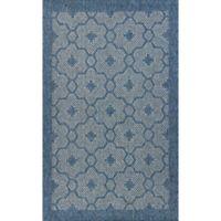 KAS Farmhouse Mosaic 6-Foot 7-Inch x 9-Foot 6-Inch Indoor/Outdoor Area Rug in Blue