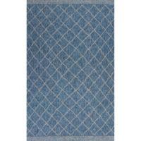 KAS Farmhouse Rustico 3-Foot 3-Inch x 4-Foot 11-Inch Indoor/Outdoor Accent Rug in Blue