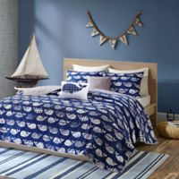Urban Habitat Kids 4-Piece Twin/Twin XL Moby Whale Printed Coverlet Bedding Set in Navy