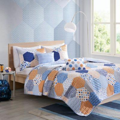 Urban Habitat Trevor 5 Piece Full/Queen Coverlet Set In Blue/Orange