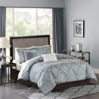 Madison Park Lavine Full/Queen Duvet Cover Set in Blue