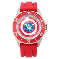 Marvel® Avengers Men's 46mm Captain America Honor Watch with Red Silicone Strap