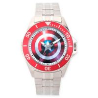 Marvel® Avengers Men's 46mm Captain America Honor Watch with Silver Stainless Steel Strap
