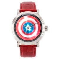 Marvel® Avengers Men's 44mm Captain America Vintage Watch with Red Leather Strap
