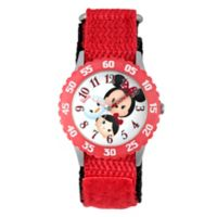 Disney® Tsum Tsum Children's 32mm Time Teacher Watch in Stainless Steel with Red Nylon Strap