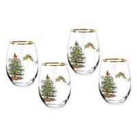 Spode® Christmas Tree Stemless Wine Glasses (Set of 4)