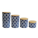 American Atelier 4-Piece Quatrefoil Canister Set in Navy