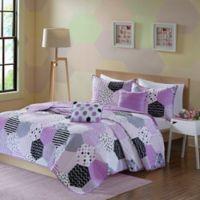 Urban Habitat Kids Trixie 4-Piece Twin/Twin XL Geo Printed Coverlet Bedding Set in Purple