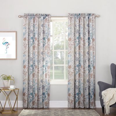 sun zero allena 84 inch rod pocket room darkening thermal window curtain panel in stone - Thermal Curtains