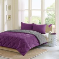 Intelligent Design Trixie 3-Piece Reversible Full/Queen Comforter Set in Purple/Charcoal