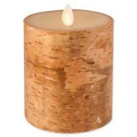 Luminara Real-Flame Effect 4-Inch Pillar Candle in Birch