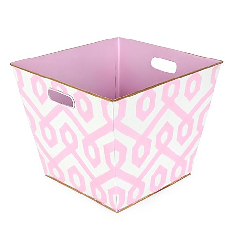 Jayes studio madison storage bin in pink bed bath beyond for Pink bathroom bin