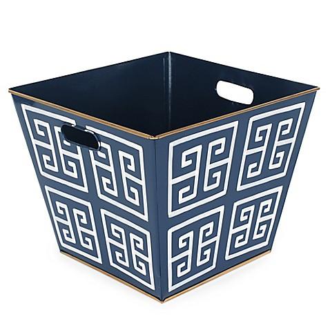 Jayes studio greek key storage bin in navy bed bath beyond for Navy bathroom bin