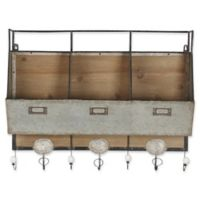 Kate and Laurel Arnica 7-Hook Rustic Wall Organizer in Brown