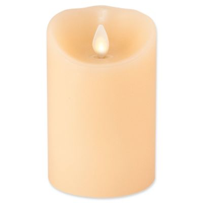 luminara realflame effect 4inch pillar candle in ivory