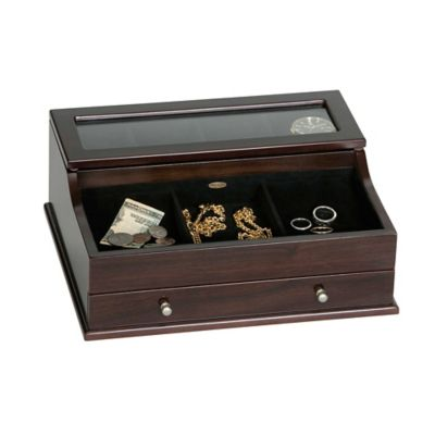 Hampden Men's Glass Top Wooden Dresser Top Valet in Mahogany