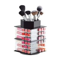 iDesign® Small Spinning Acrylic Cosmetic Organizer in Black/Clear