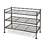 Seville Classics 3-Tier Mesh Utility Shoe Rack in Satin Bronze