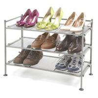 Seville Classics 3-Tier Mesh Utility Shoe Rack in Pewter2-Pack
